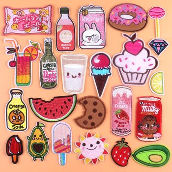 PRAJNA Cake Candy Fruit Badge Clothes Embroidery Patch for Clothing Cute Cartoon Iron-on BABY Stickers Stripe DIY