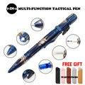 Multi-função portátil sobrevivência ao ar livre tático caneta auto defesa lanterna de emergência disjuntor de vidro chave de fenda ferramenta edc