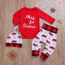 Christmas Newborn Baby Girls Boys clothes 3pcs set Tops Romper Pants Outfits long sleeve Infant baby Xmas clothing sets new 3pcs newborn baby boys girls christmas clothes crawl walk hunt romper deer pants hats caps xmas elk outfits toddler baby set