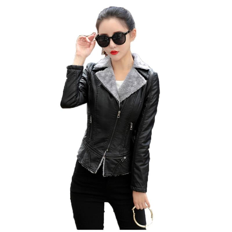 Winter plus thick faux   leather   coat black red plus size top jacket 19 new long sleeve lapel fashion short paragraph jacket LR662