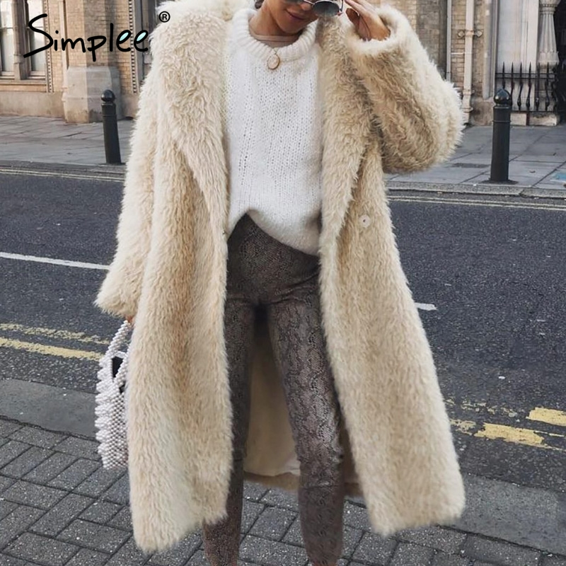 Simplee Plus Size Women Faux Fur Coat Long Sleeve Buttons Autumn Winter Female Warm Overcoat Fashion Soft Ladies Long Coats 2019