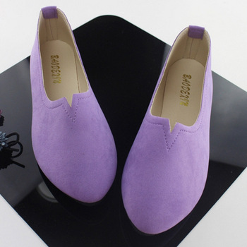 2019 Summer Hot Sale Work Women Shallow Mouth Flats Single Shoes Candy Color Nubuck Leather Comfortable Loafers Shoes Size 35-43 1