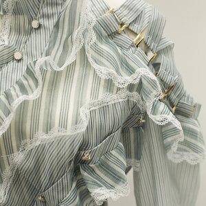 Image 4 - Vestido asimétrico de manga larga con volantes a rayas para mujer, traje de diseñador para pasarela, de alta calidad, a la moda, 2020
