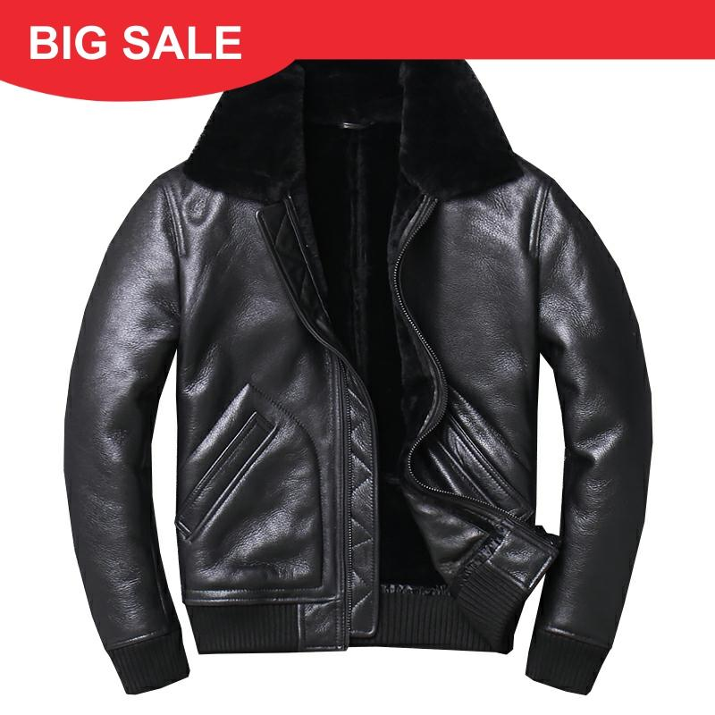 2020 Black Men Military Pilot Shearling Jacket Plus Size XXXXL Slim Fit Winter Thick Russian Aviator Genuine Coat FREE SHIPPING
