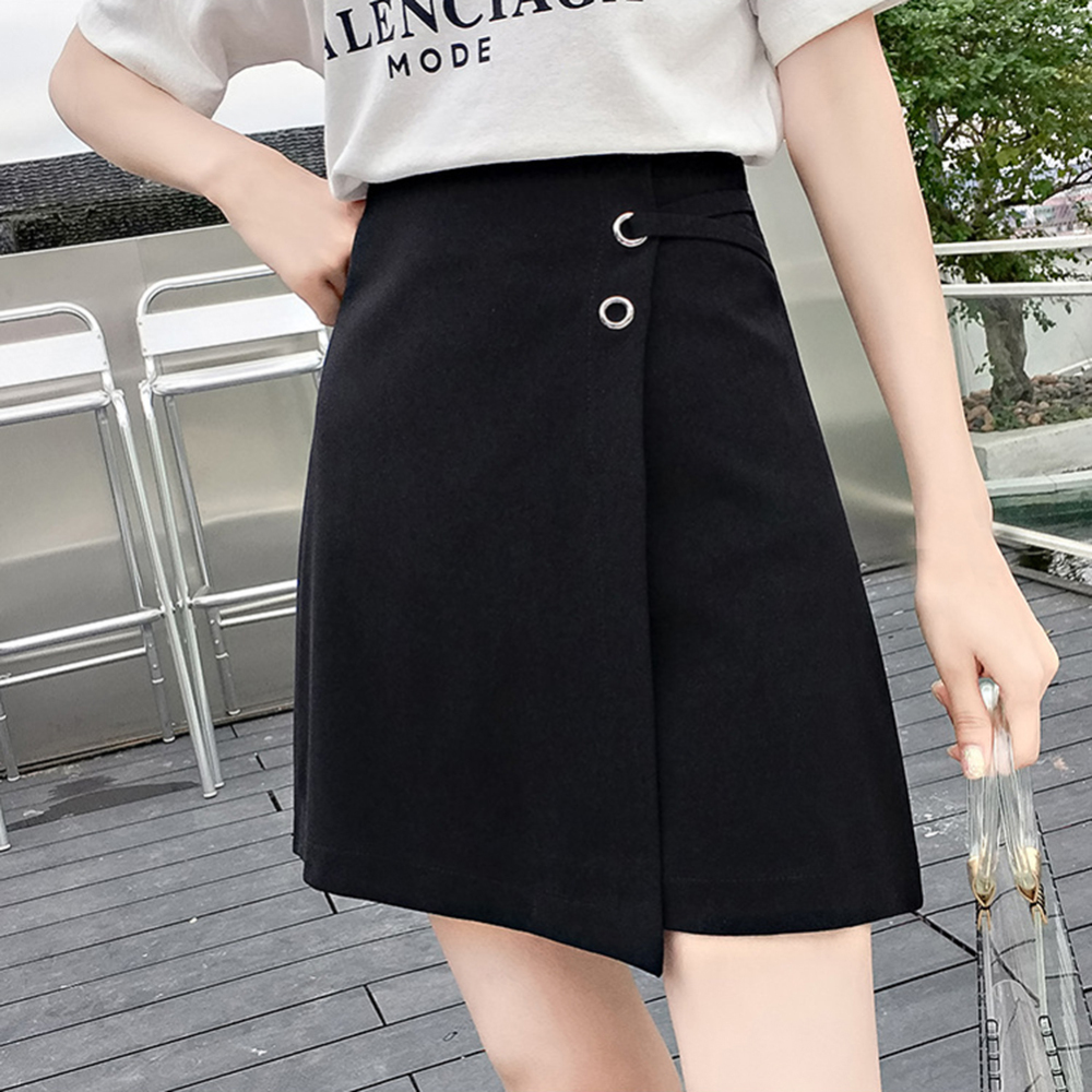 Korean Ulzzang Office Lady High Waist A-Line Mini Skirts Women Lace-Up Solid Package Hip Skirts Autumn Female Above Knee Skirts