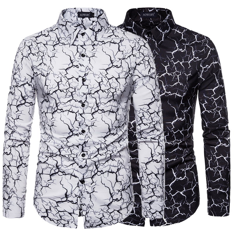 Ou Code Spring And Autumn Large Size Mens Self-cultivation Wild Long-sleeved Shirt Slim Lightning Printing Business Tops