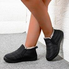 Snow Boots Women Shoes 2020 Waterproof Warm Plush Fur Ankle Boots Winter Female Slip On Flat Casual Shoes Ultralight Footwear