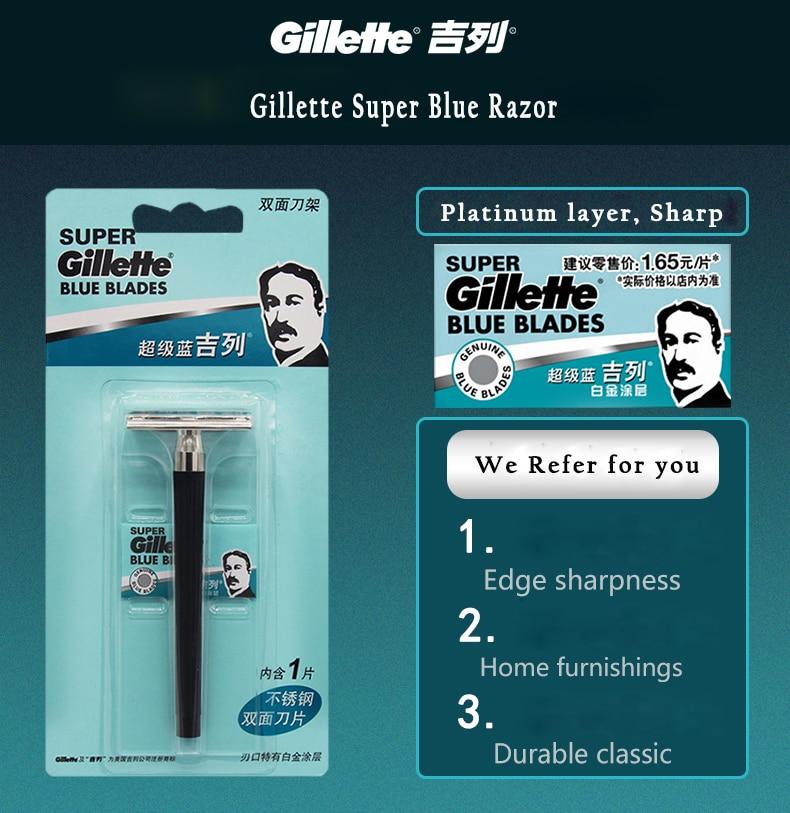 Gillette Super Blue Shaving Razor For Men Knife 1 Holder With 1 Blade Authentic Safety Razors For Men Shaving