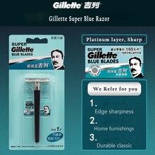 Shaving-Razor Knife 1-Holder 1-Blade Safety Gillette Men Super-Blue for with Authentic