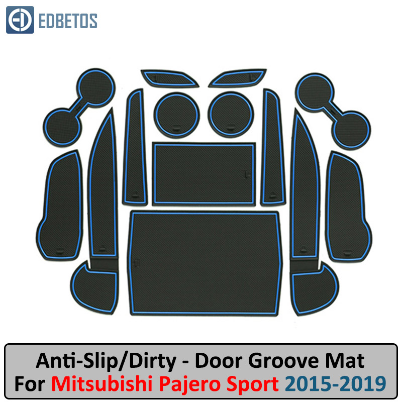 Pajero Door Groove Mat For Mitsubishi Pajero Sport 2015-2019 Montero Shogun Anti-Slip Mat Gate Slot Coaster Anti-Dirty Mat