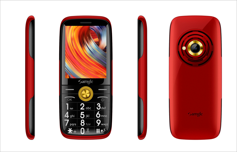 Samgle бар функция телефона 3g WCDMA Супер долгий режим ожидания большой ключ HD дисплей фонарик Lound Динамик Whatsapp скорость вызова просто - Цвет: Red