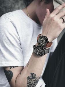 Мужские повседневные кварцевые часы с секундомером, спортивные часы из натуральной кожи
