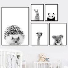 Черный белый цвет панда коала обезьяна страуса wall art Холст