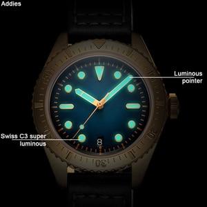 Image 5 - Addies mekanik bronz saatler erkekler 20 bar dalış NH35 hareketi C3 ışık safir kristal otomatik bronz İzle Diver 200m