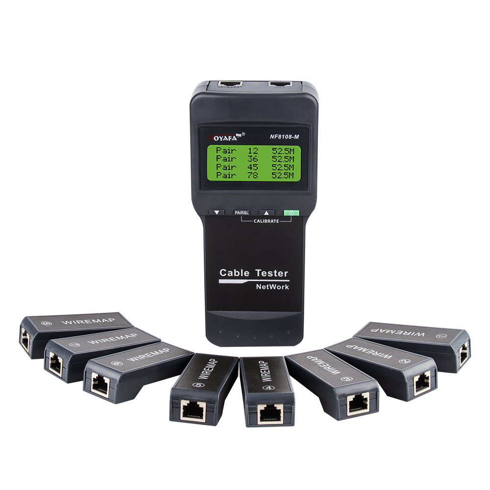 Noyafa Cable Length Tester NF8108-M Network Cable Continuity Testing Cat5E  6E UTP STP CAT5 RJ45 With 8 Remote