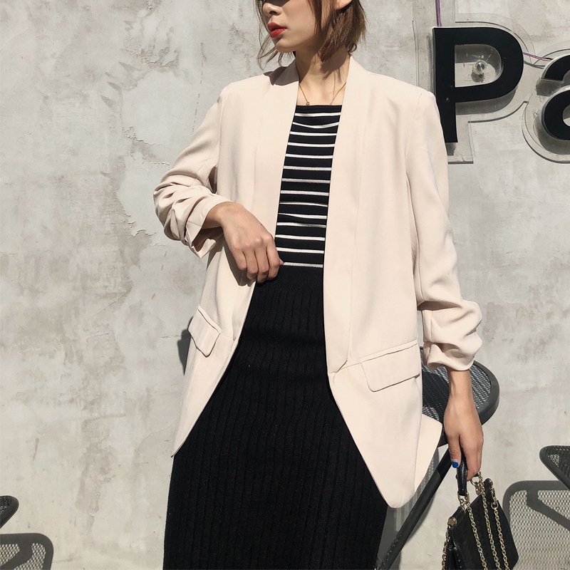 Spring And Autumn Women's Suit Casual Solid Color Pocket Decoration Cuff Pleated Suit