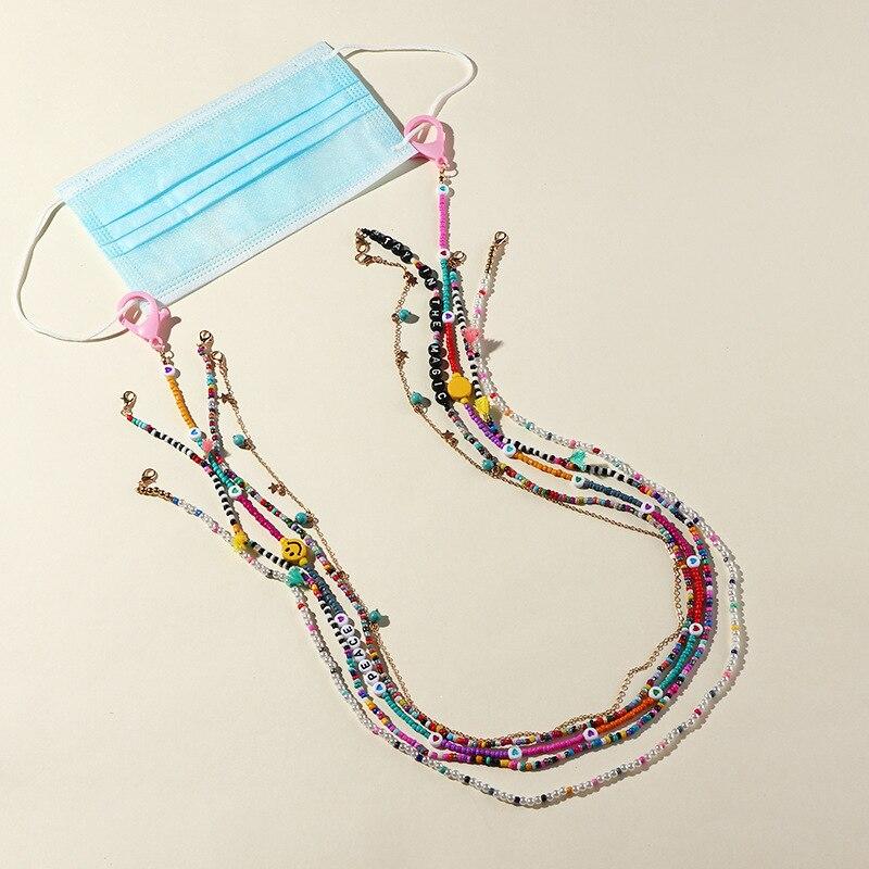 Moda óculos de leitura corrente máscara correntes para mulher retro colorido contas óculos de sol corrente eyewear cordão titular pescoço cinta corda