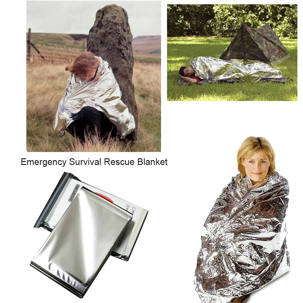 Outdoor Waterproof Emergency Survival Rescue Blanket Foil Thermal Space First Aid Sliver Rescue Curtain Military Blanket