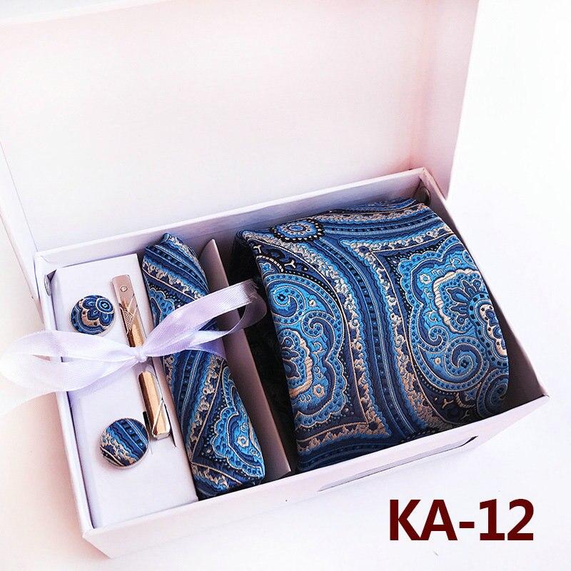 Мужская жаккардовая Пейсли Цветочная Свадебная деловая Вечеринка Hanky шейный набор зажимов для галстука запонки карманная квадратная Подарочная коробка для носовых платков галстук - Цвет: Necktie Set