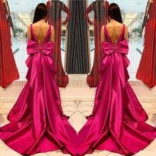 Fushia сатиновое вечернее платье с открытой спиной es глубокий v-образный вырез без рукавов платье-Русалка для выпускного с большим бантом длина до пола формальное вечернее платье
