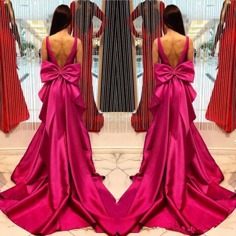 Fushia Backless Satin Evening Dresses 2019 Deep V Neck Sleeveless Mermaid Prom Gown Big Bow Floor Length Formal Evening Dress