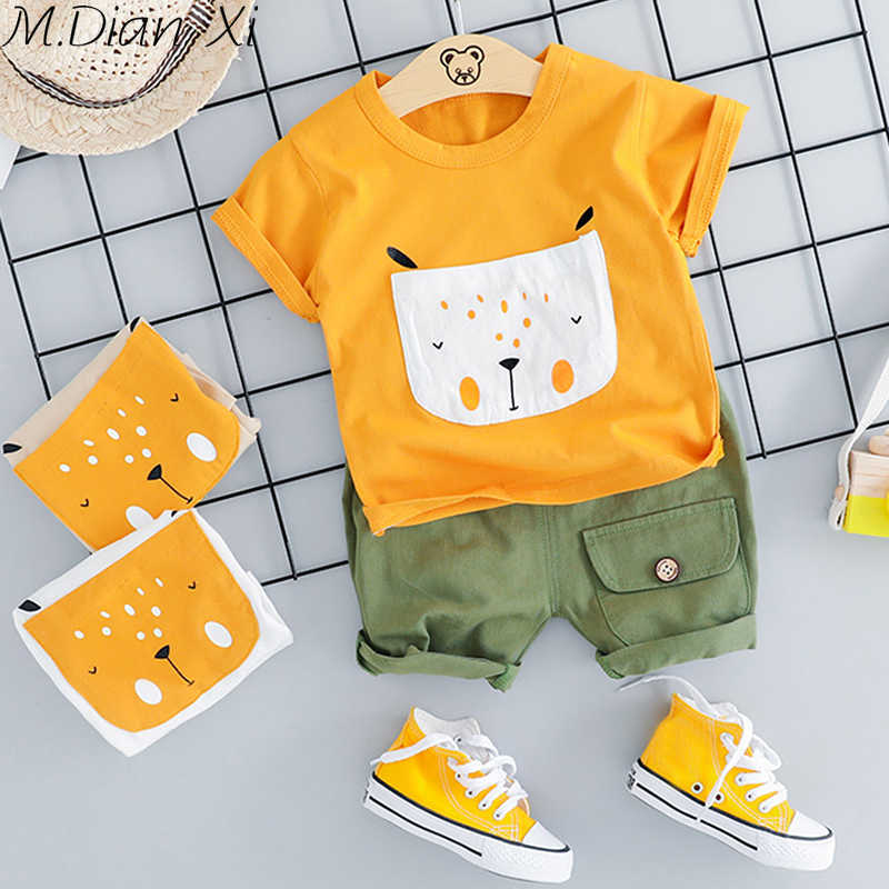 Newborn Baby Boys Clothes Summer Cartoon Dog Pocket Tops Short Pants Casual Outfits Baby Boy Sets Infant Boy Clothing 0-24M