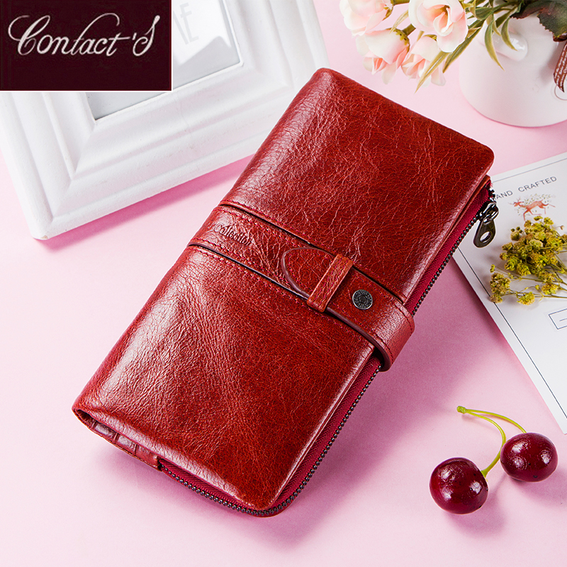 Contact's Red Fashion Wallet Clutch Women 100% Genuine Leather Purse Ladies Wallets HasP Card Hold Cartera Mujer Portfel Damski