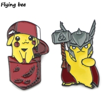 Flyingbee Cartoon Funny Pikachu Pin Enamel For Clothes Bags Backpack badge Cute Brooch Shirt Lapel Pins X0402