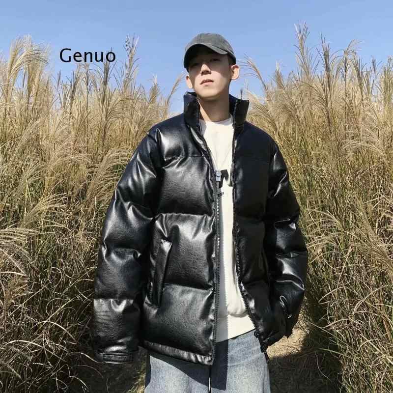 Куртка Puu Мужская короткая зимняя, теплая хлопковая одежда с воротником-стойкой, свободная хлопковая одежда в Корейском стиле