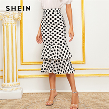 SHEIN Black And White Polka Dot Layered Fishtail Hem Elegant Skirt Women 2019 Autumn High Waist Wide Waistband Party Midi Skirts