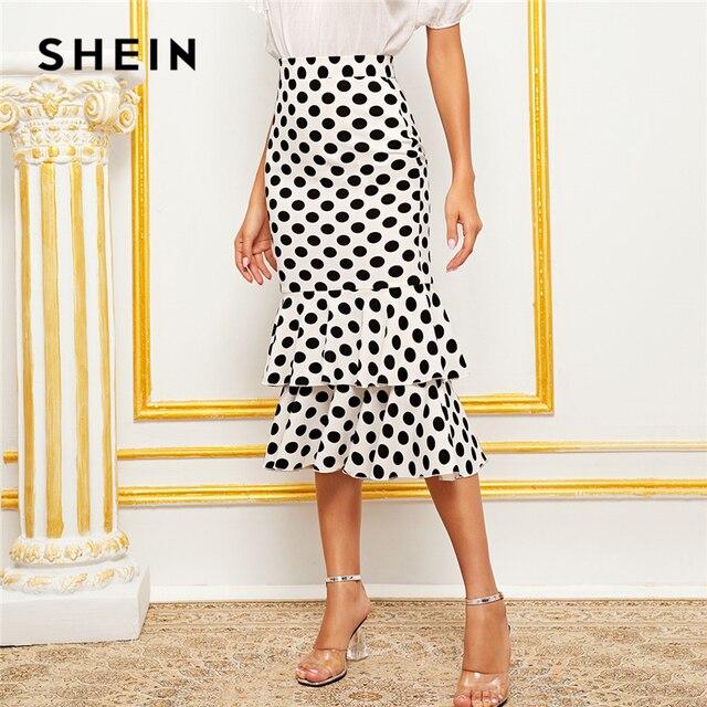 SHEIN Black And White Polka Dot Layered Fishtail Hem Elegant Skirt Women 2019 Autumn High Waist Wide Waistband Party Midi Skirts