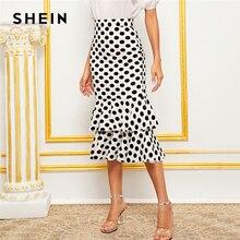 SHEIN czarny i biały Polka Dot warstwowe Fishtail Hem elegancka spódnica kobiety 2019 jesień wysokiej talii szeroki pas Party Midi spódnice