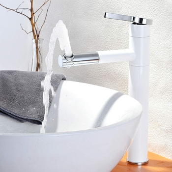 Contemporary Bathroom Sink Faucet with Rotating Spout 11.2 Inch Tall Vessel Sink Faucet,White+Silver