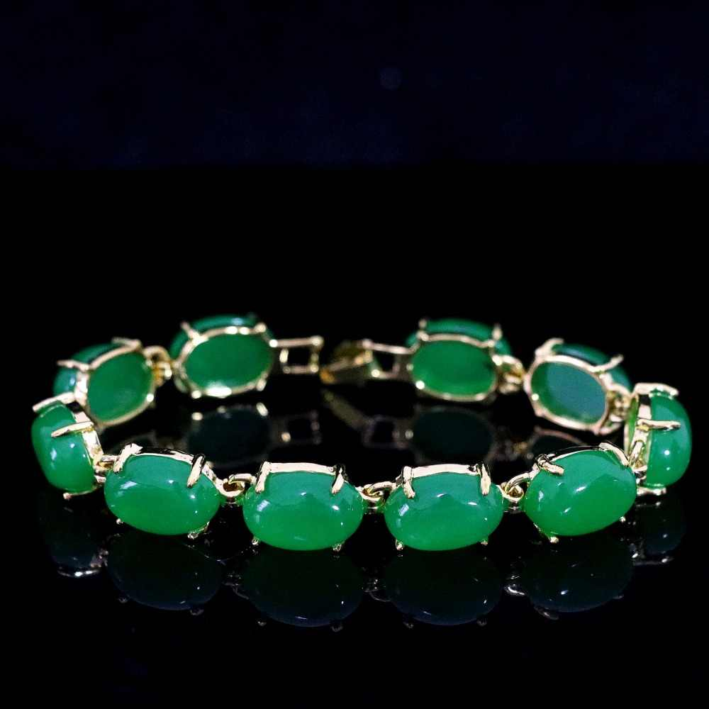 "New Semi-precious oval chalcedony green stone jades gold-color chain bracelet weddings anniversary gift jewelry 7.5""B1167"