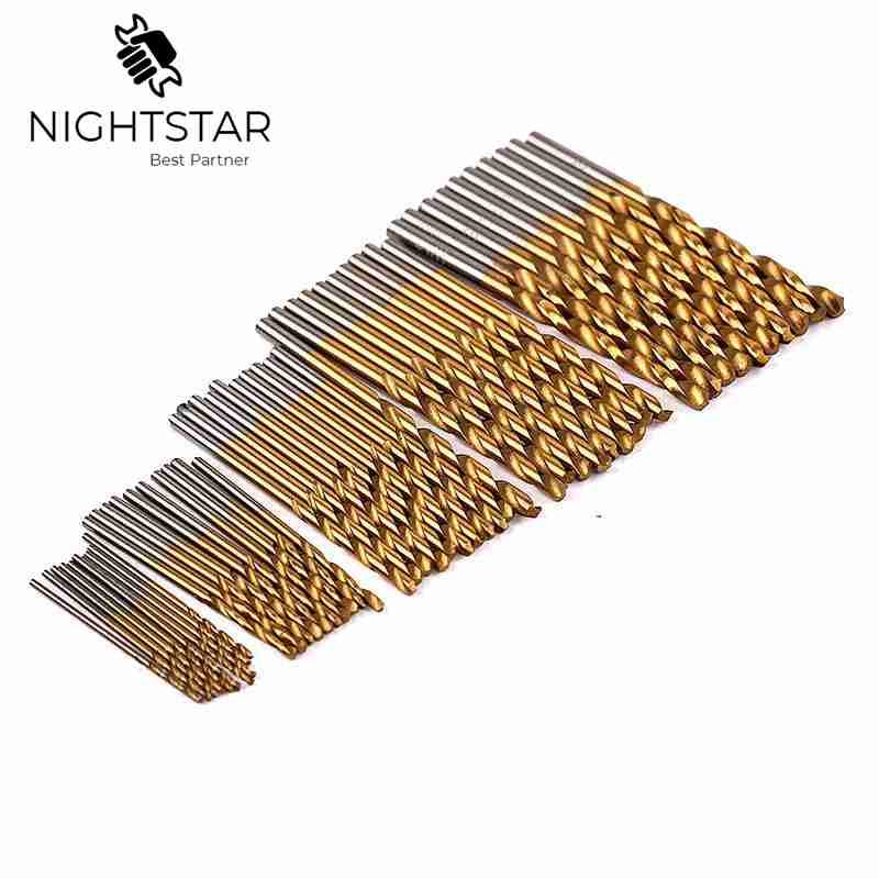 50Pcs Twist Drill Bit Set Saw Set HSS High Steel Titanium Coated Drill Woodworking Wood Tool 1/1.5/2/2.5/3mm