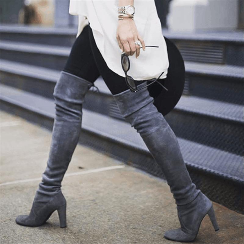 PUIMENTIUA Seksi Parti Botları Moda Süet deri ayakkabı Kadın Diz Topuklu Çizmeler Streç Akın Kış Yüksek Çizmeler botas