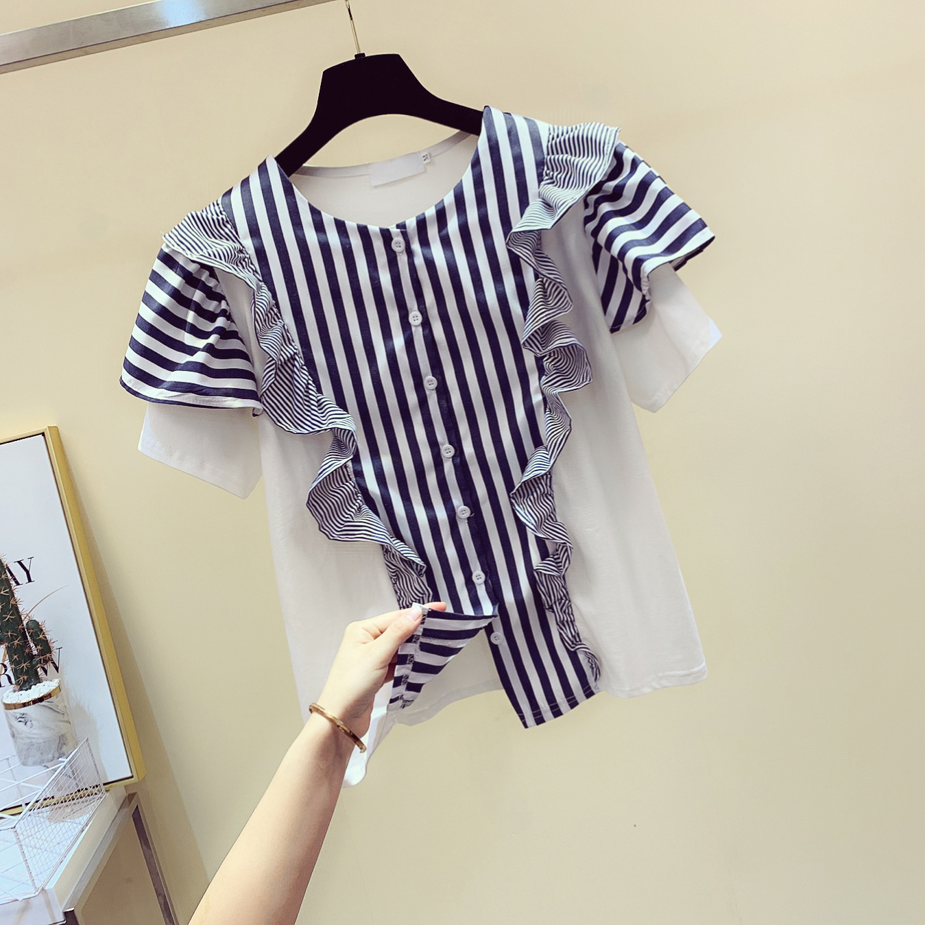 2020 Summer New Vertical Striped Panel Shirt Women's Loose-Fit Short-Sleeve Ruffle Blouse Women's Tops Blusas Femme Blusa Mujer