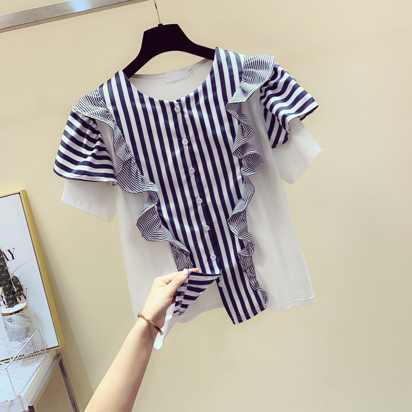 2020 Summer New Vertical Striped Panel Shirt Women's Loose-Fit Short-Sleeve Ruffle Blouse Women's Tops Blusas Femme Blusa Mujer