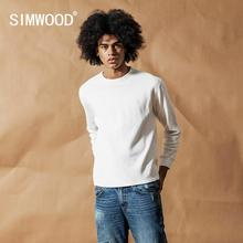 SIMWOOD 2020 spring New Long Sleeve T shirt Men plaid embroidered logo plaid tshirt  pullover top 100% cotton t shirt  190272