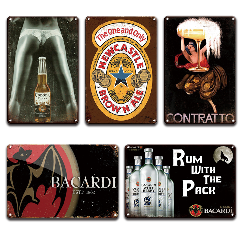 Pernod Ricard Bacardi Beer Metal Poster Tin Sign Vintage Irish Pub Bar Home Decor Retro Contratto Captain Morgan Metal Sign