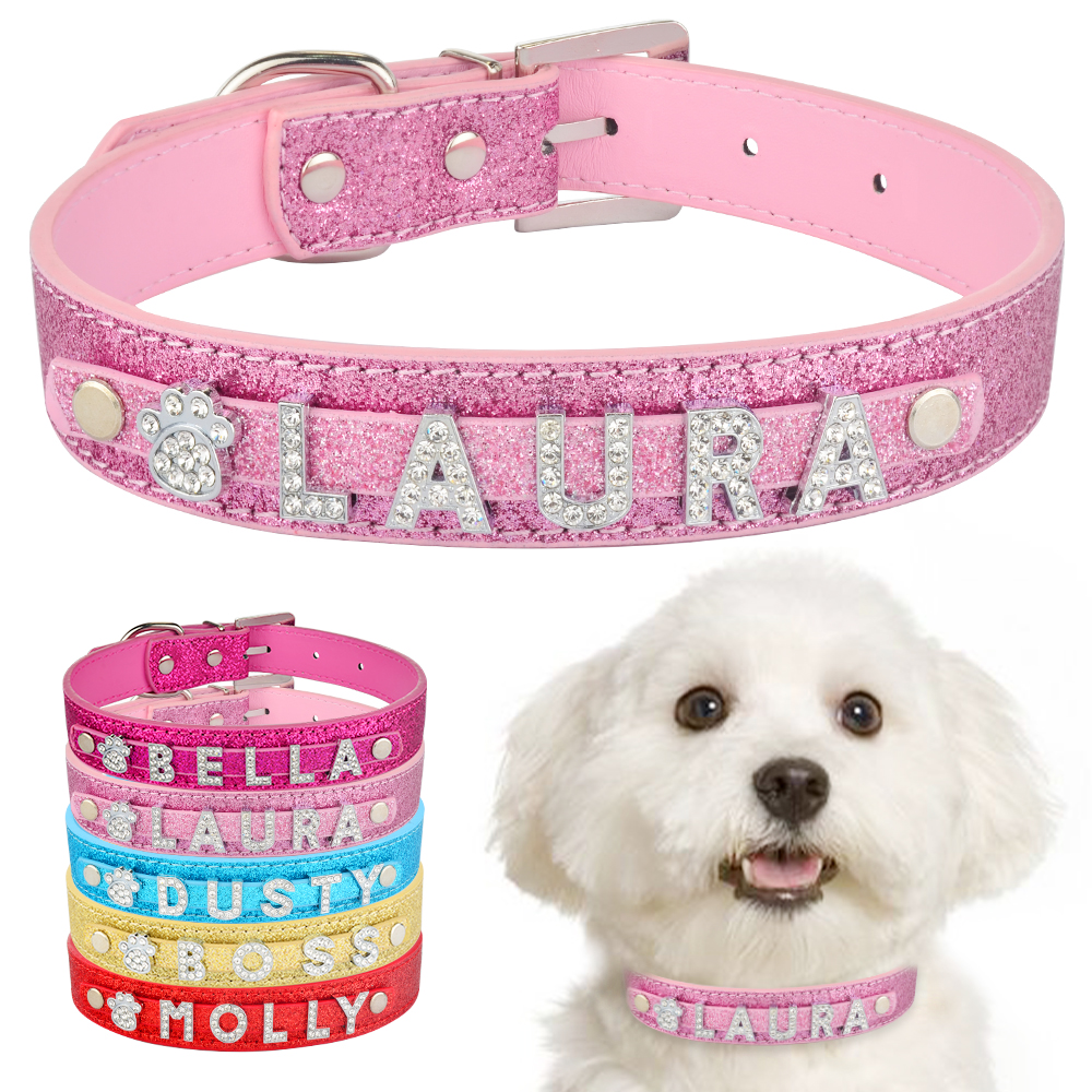 Personalized Dog Collar Leather Rhinestone Bling Charms Custom Pet Dogs Cat Name 1