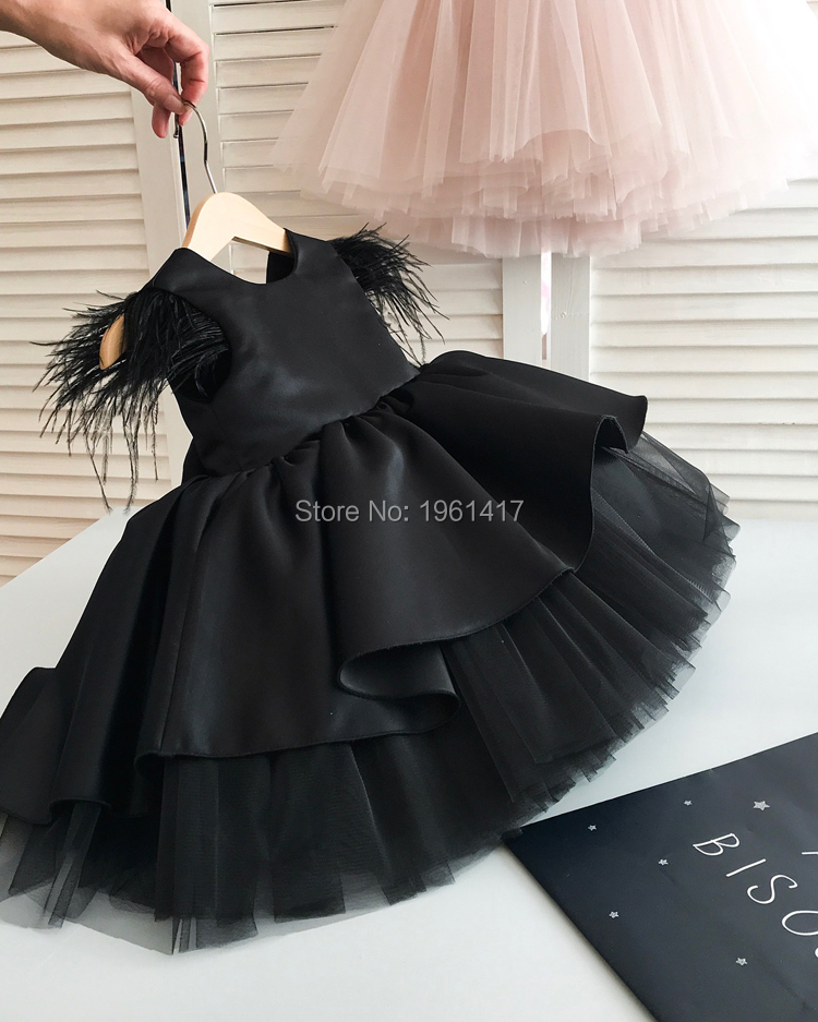 New Girls Dress Black Kids Dresses For Girls Party Dress Bridesmaid Dresses Sleeveless Ball Gown Clothes Photography Props
