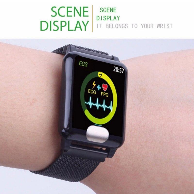 Купить с кэшбэком E04 Waterproof Smart Wristband 3d Dynamic Heart Rate Monitor PPG ECG Blood Pressure Muilt-function Smart Bracelet
