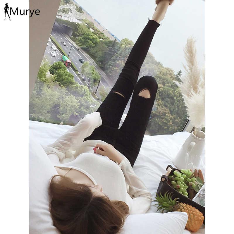 Gloria kot kadın delik yırtık mo jean tığ yüksek bel ince siyah pantolon kapriler sıska pantolon bayanlar moda dış giyim 2019