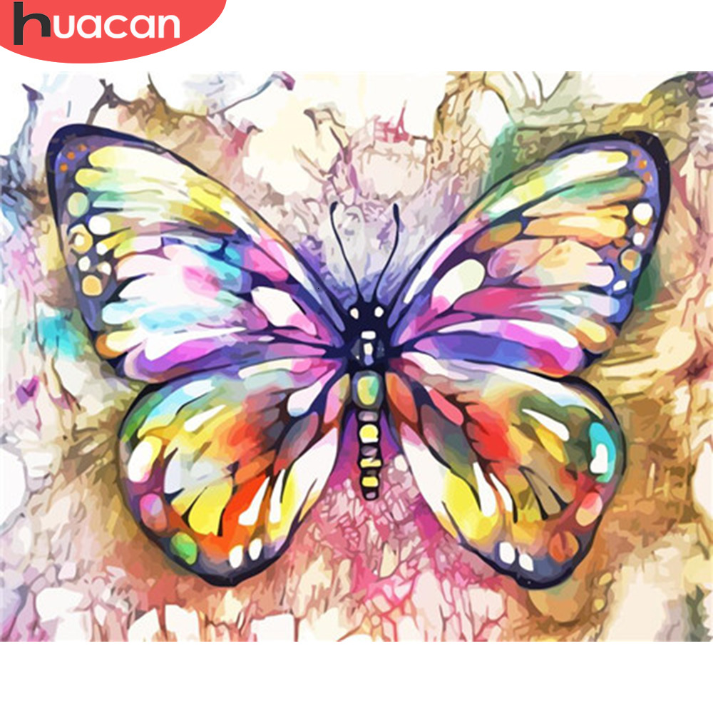 HUACAN Painting By Numbers Animals Butterfly HandPainted Kits Drawing Canvas Pictures Home Decoration DIY Gift