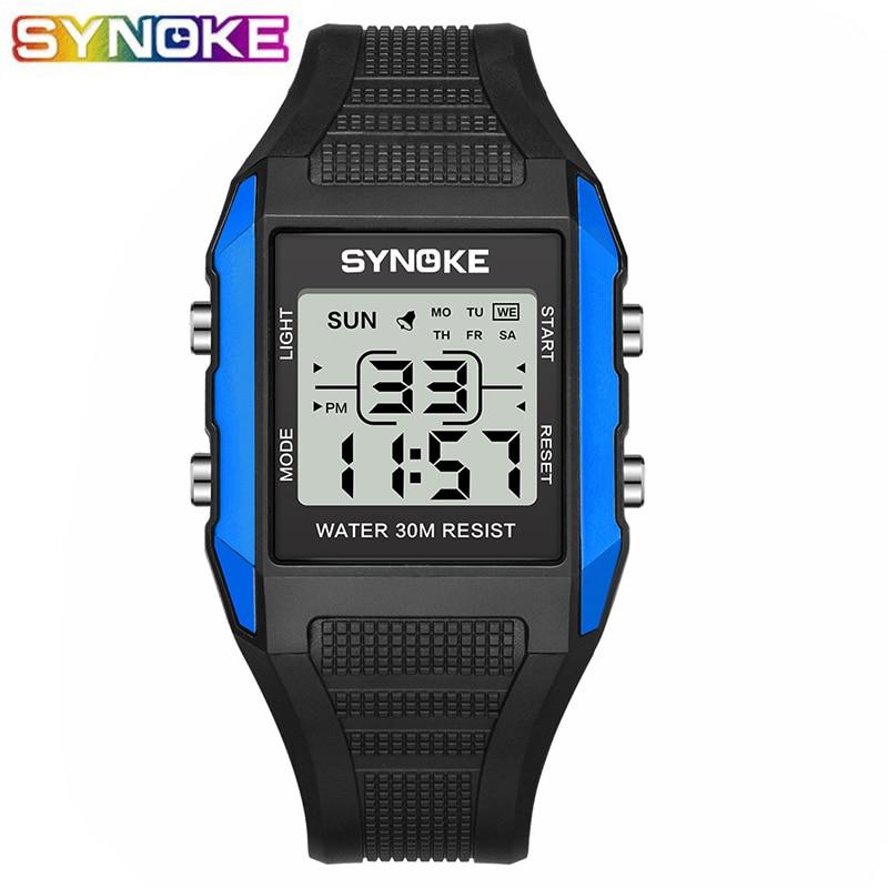 SUMTOCK Digital Children's Watches Sport LED Display Waterproof Shock Resistant Blue Black Boys Girls Kids Wristwatch Alarm