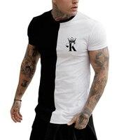 Camiseta de alta calidad para hombre, camisa de póker con costuras de manga corta con estampado 3d, ropa de calle suelta, verano, nueva