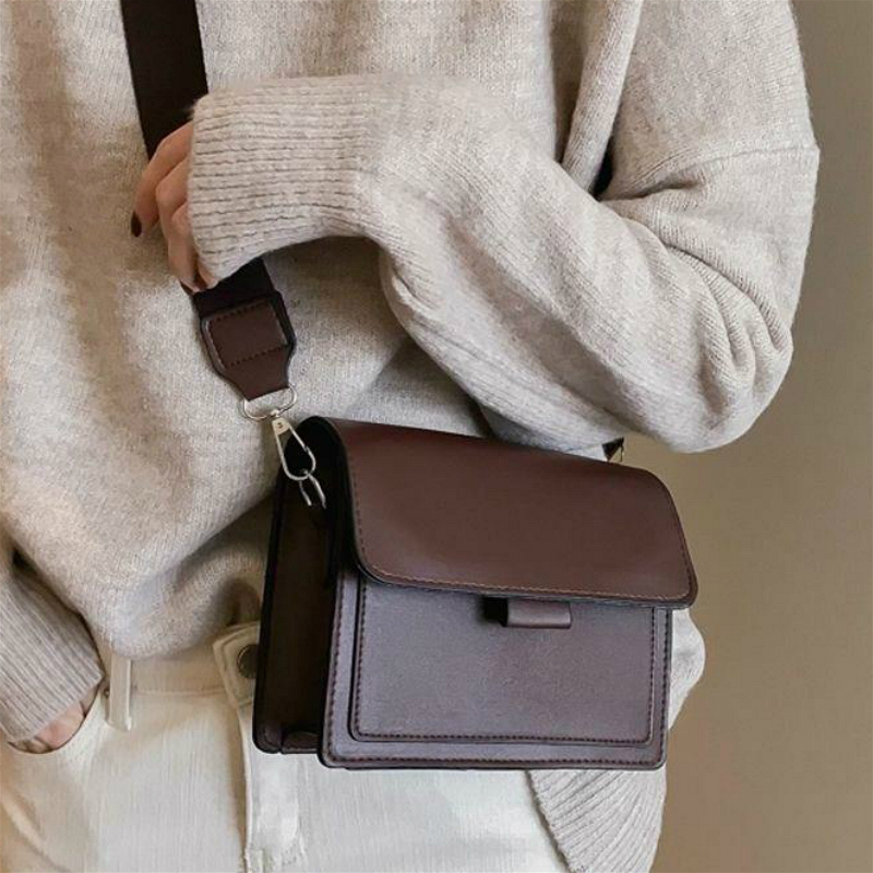 Fashion Women Crossbody Bags Vintage PU Leather Ladies Envelop Shoulder Bag Small Flap Simple Female Clutch Purse Messenger Bags
