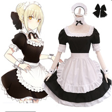 Fate Grand Order Saber Lily Lolita Maid Dress Costumes Cosplay for Girls Woman Waitress
