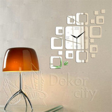 Creative 3D Acrylic Wall Sticker Children Stickers Mirror Digital Clock Removable Home Decoration Decor